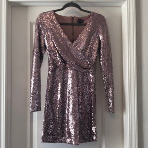 Sequin Dress! Fitted, pink with long sleeves!